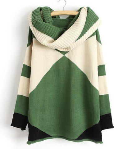 Trendy Style Scoop Collar Long Sleeve Color Block with Scarf Women's Sweater