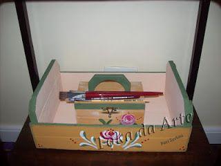 caixote de frutas e porta esmaltes pintura