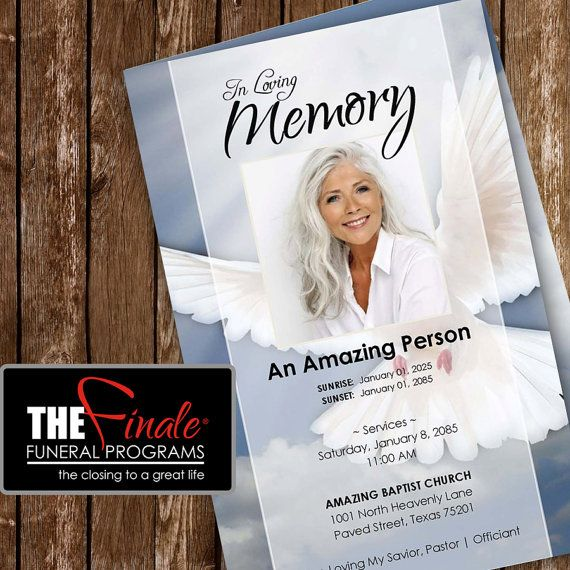 HEAVENLY DOVE Printable Funeral Program Template Microsoft - Funeral program template word