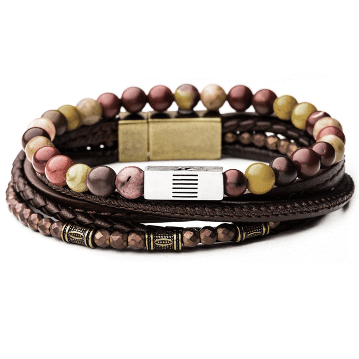 9a015c3e76419 CANDYSHOP Mens Bracelet Stack with Multicolor Beads and Brown ...
