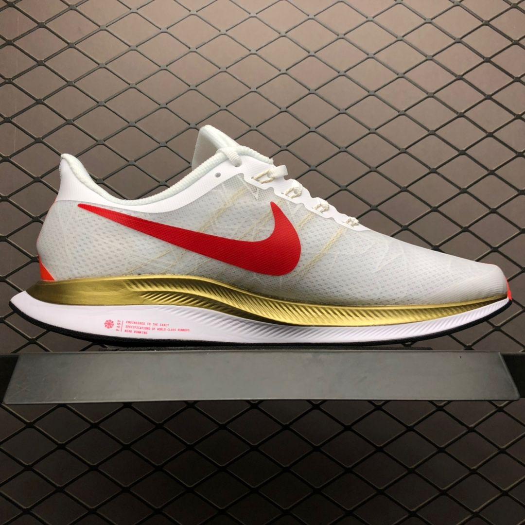 Mens Nike Air Zoom Pegasus 35 White Gold Red Running Shoes