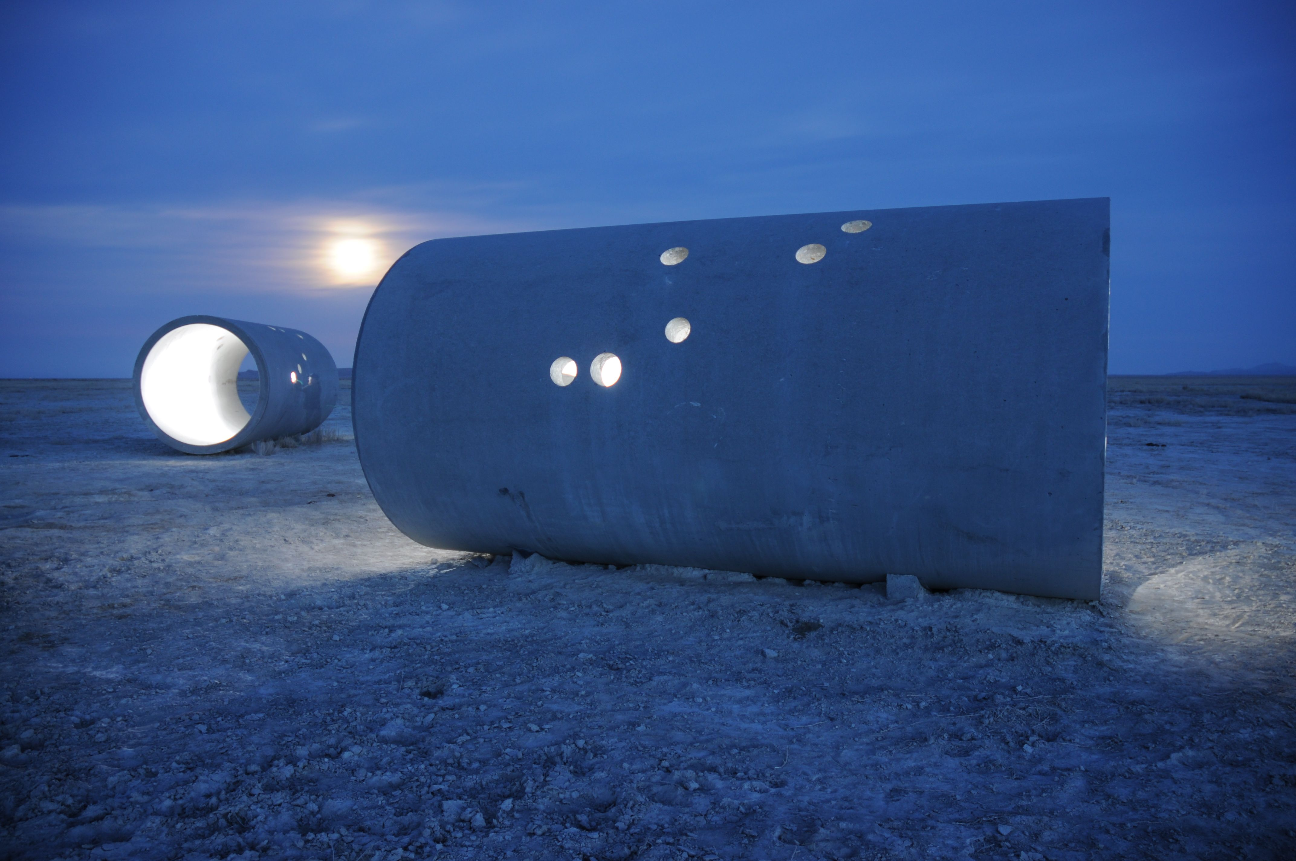 Visiting Sun Tunnels by Nancy Holt, southeast of Lucin, Utah.