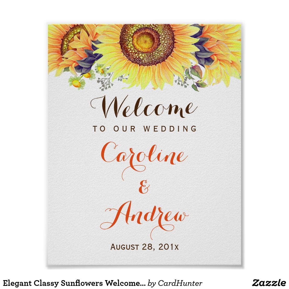 Elegant Classy Sunflowers Welcome Wedding Sign | Sunflowers ...