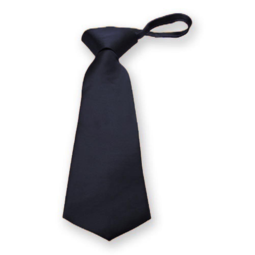 Tiemart boysu dark navy blue solid color zipper tie