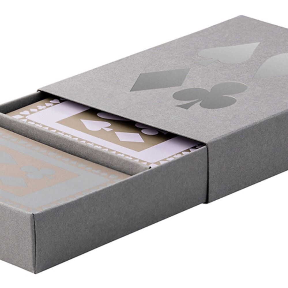 Grey sleeved box with grey and pale lavender playing cards