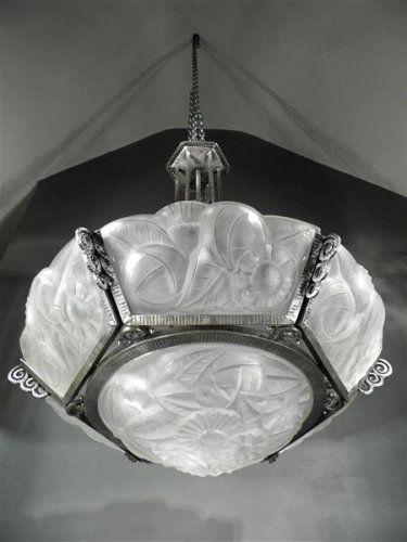 1920 30 Degué pi¨gne lustre  plaques en fer forgé et verre