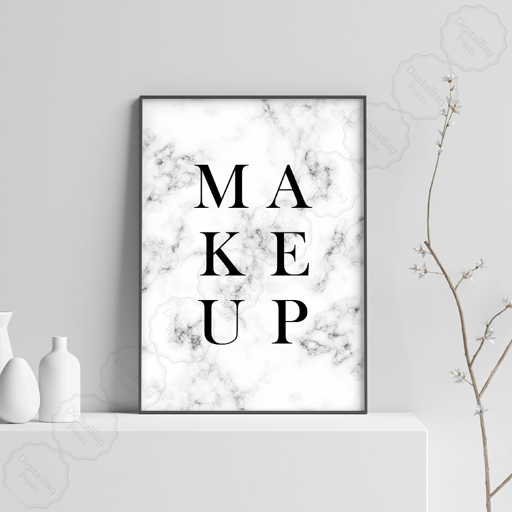Makeup Wall Art Makeup Poster Digital Download Marble Wall Etsy In 2020 Makeup Wall Art Makeup Print Wall Art Prints