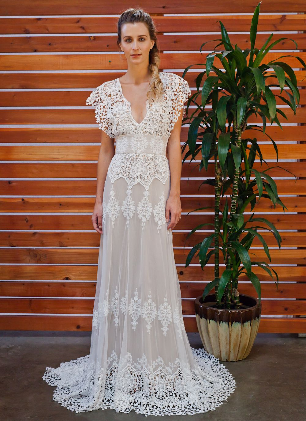 Azalea Draped Cotton Lace Wedding Dress Beach Wedding Dress Boho Bohemian Wedding Dress Lace Wedding Dresses Lace