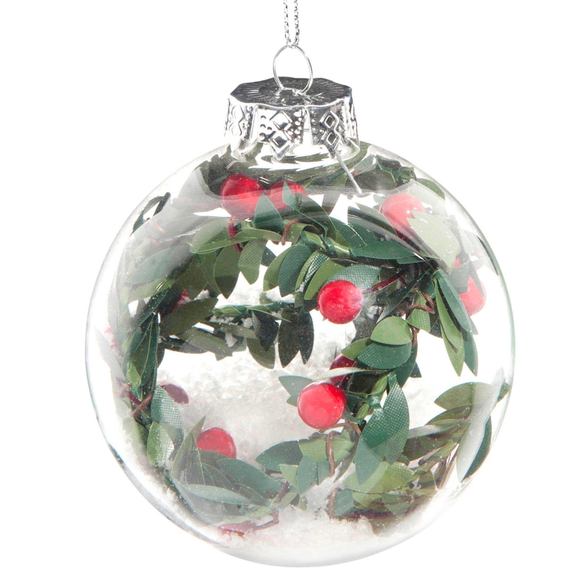 Boule De Noel Transparente A Decorer pour boule de noël houx et neige en verre 8 cm herbier - vendu par 6