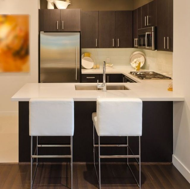 einrichtungstipps kleine küche ideen esstheke weiße arbeitsplatte ... - Küche Kleiner Raum