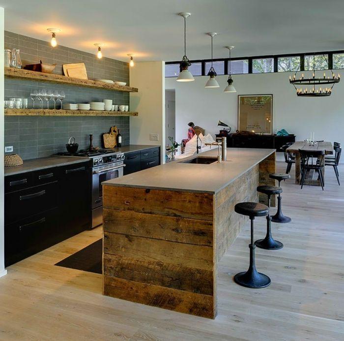 cocinas americanas, cocina con barra de madera y encimera en gris