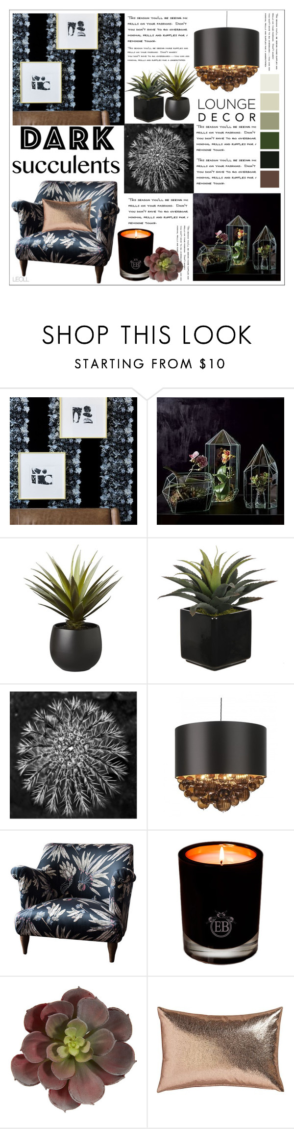"""""""Cacti + Succulents: Dark Succulents Lounge Decor"""" by leoll ❤ liked on Polyvore featuring interior, interiors, interior design, home, home decor, interior decorating, CB2, West Elm, Barclay Butera and Heathfield & Co."""