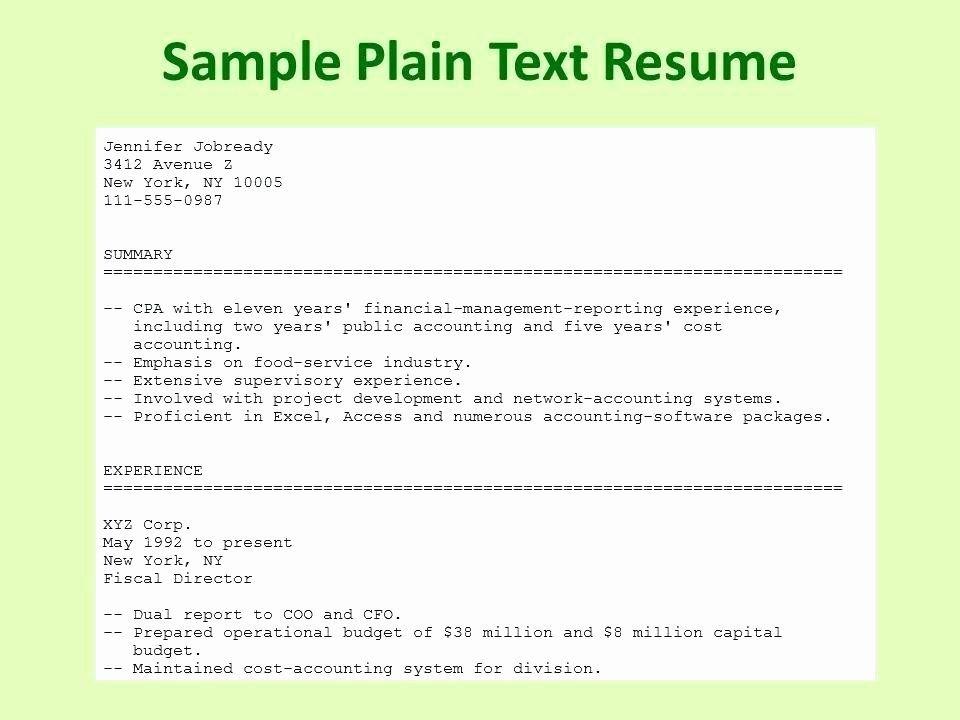 Plain Text Resume Example Elegant Essentialmom In 2020 Good Resume Examples Resume Template Examples Resume Examples