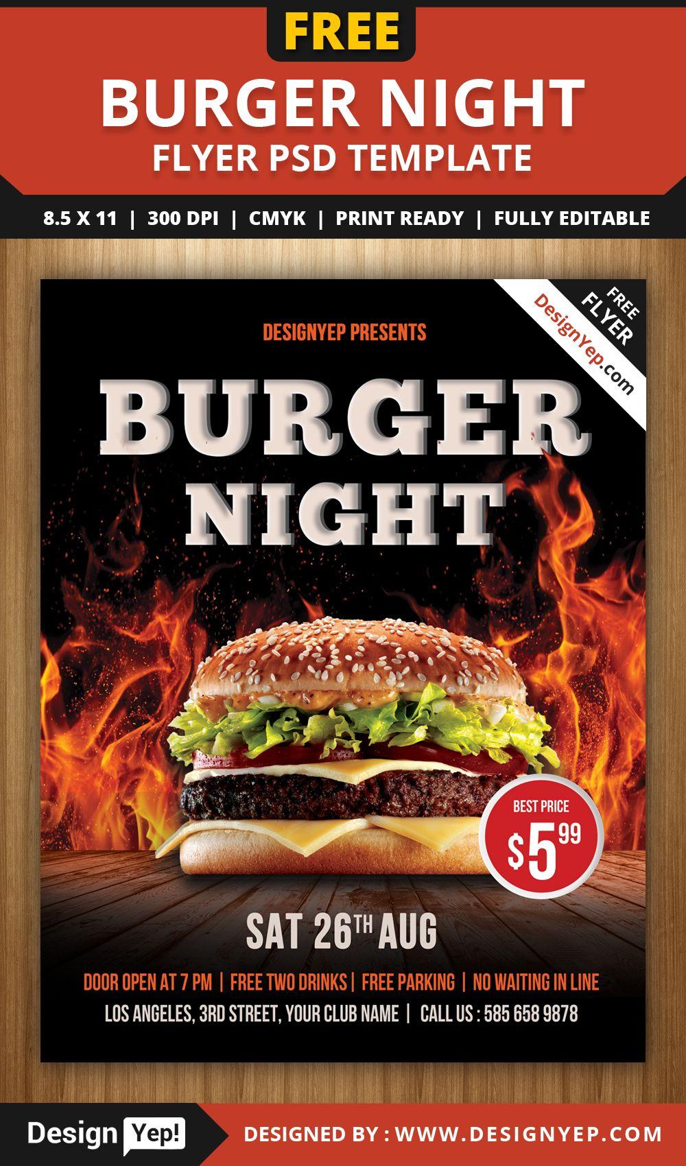 Free-Burger-Night-Flyer-PSD-Template-1234-DesignYep | Free ...