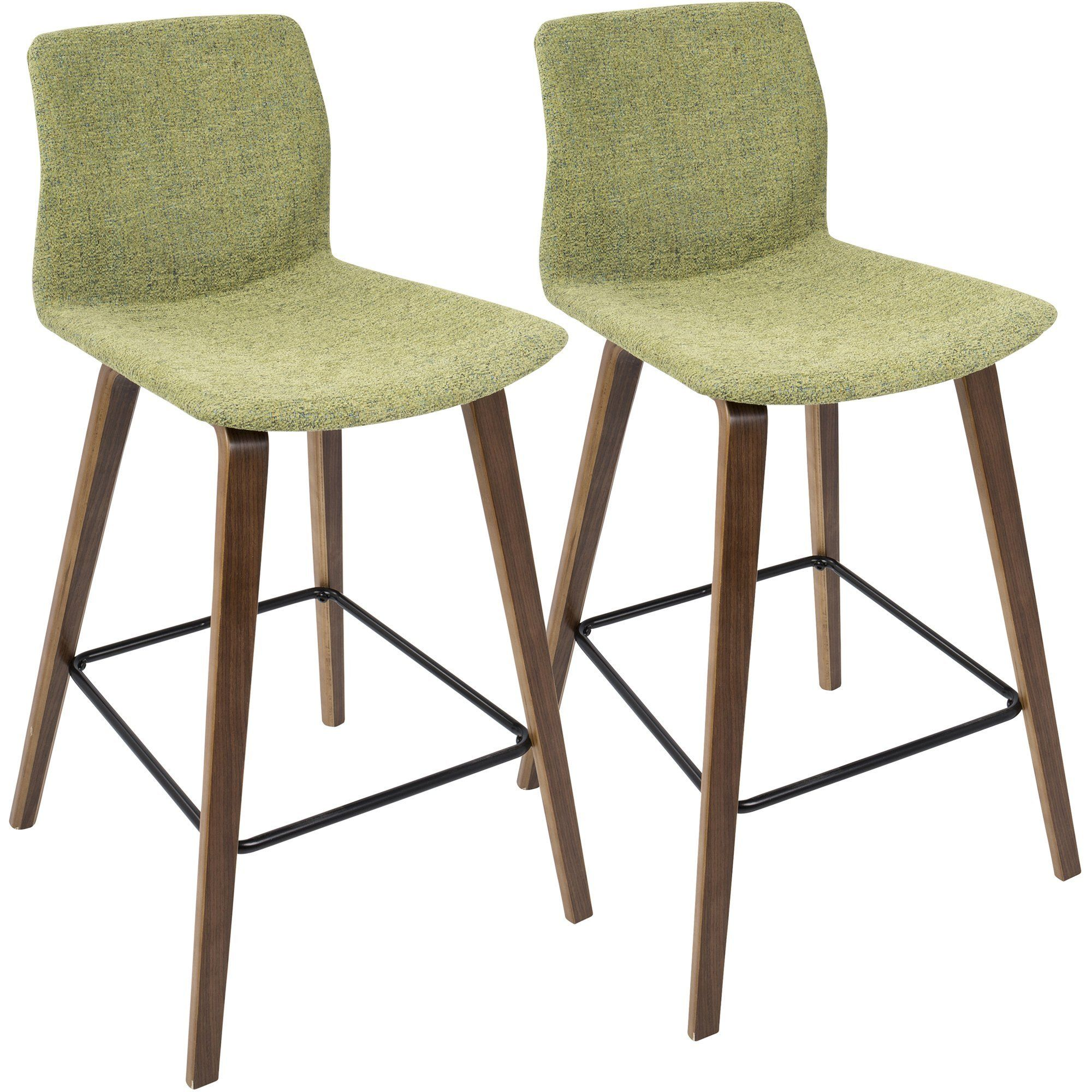 Cabo Mid Century Counter Stools With Green Fabric, Walnut (Set Of