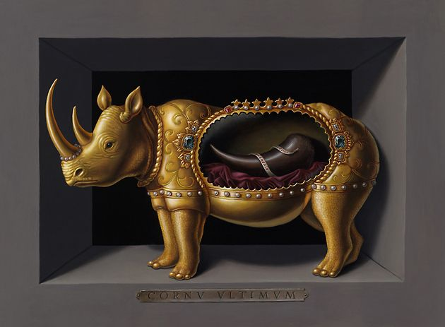 Madeline von Foerster---RHINO RELIQUARY 2010 12 x 16 in Oil and egg tempera on panel Private Collection
