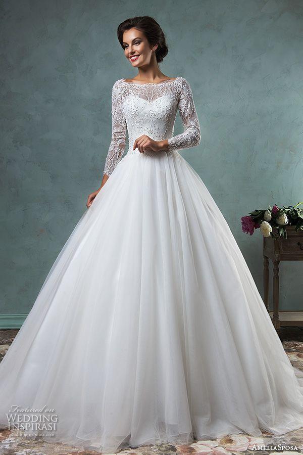 amelia sposa 2016 wedding dresses bateau neckline lace long sleeves beaded embellishment tulle skirt a line ball gown wedding dress jessica