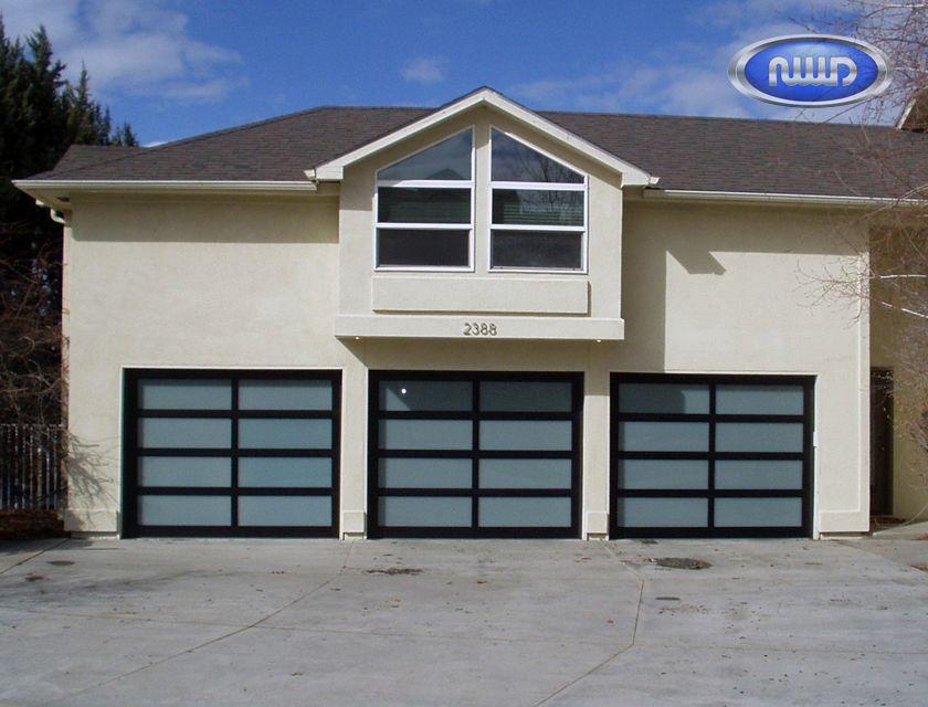 Modern Classic MC42  3 Black Anodized Finish   White Laminated Glass   Garage  Doors