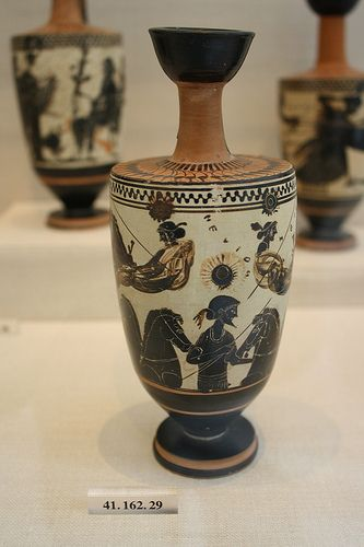 An Attic Black Figure White Ground Lekythos Attributed To The Sappho Painter Greek Pottery Ancient Greek Pottery Black Figure