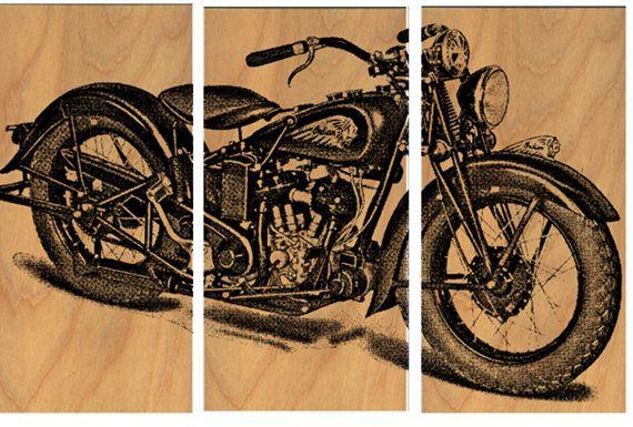Vintage Indian Motorcycle Screen Print Wood By Cedarworkshop 119 00 Vintage Motorcycle Art Motorcycle Wall Art Motorcycle Art