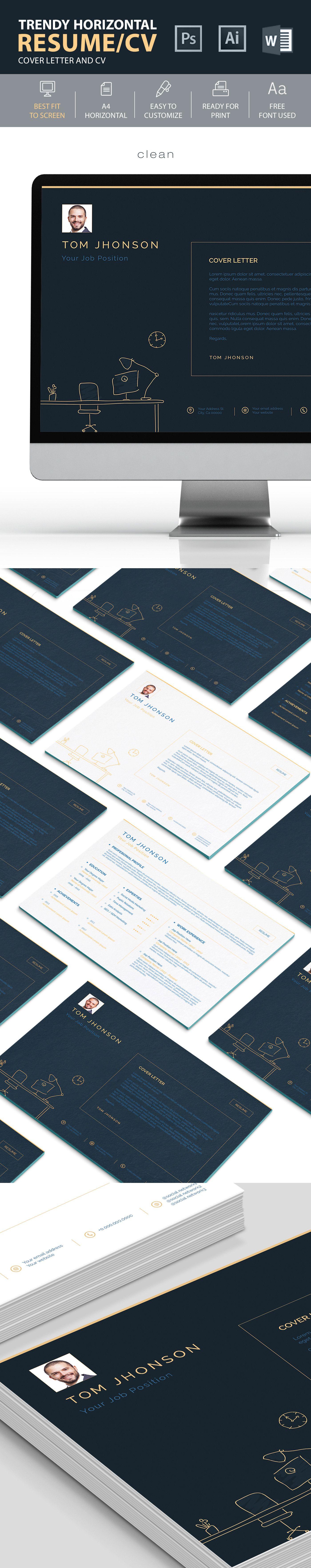 """다음 Behance 프로젝트 확인 """"Clean Horizontal Resume/CV"""" https"""