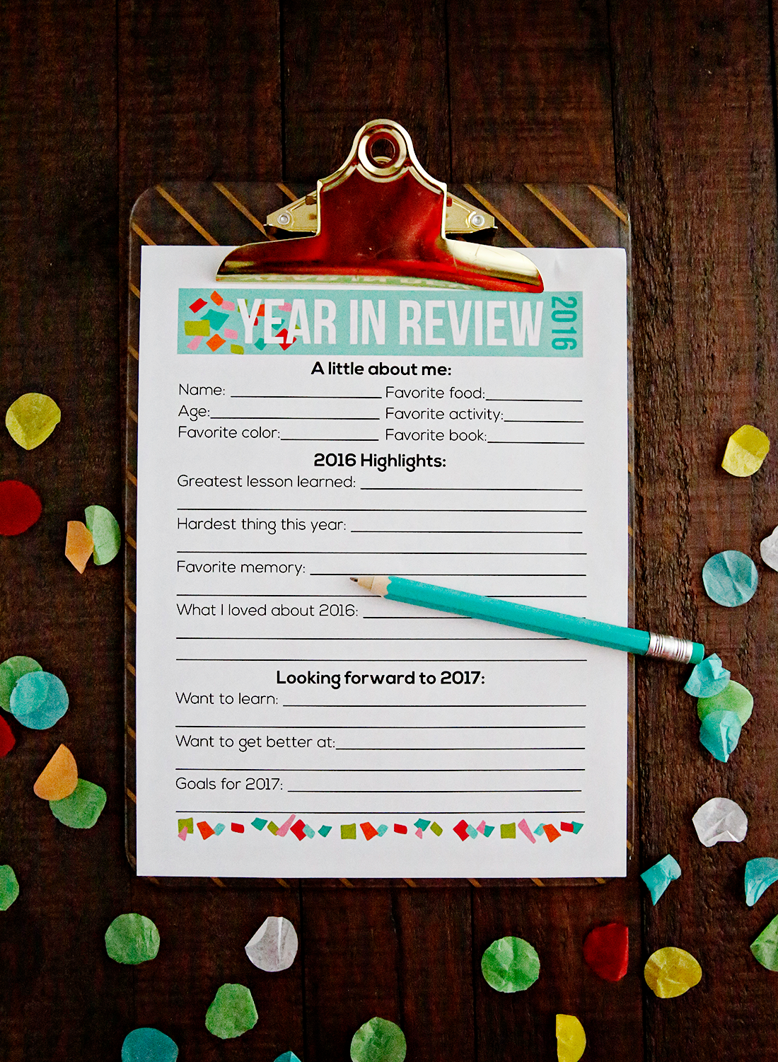Printable New Year's Resolutions for Kids 2017 New year