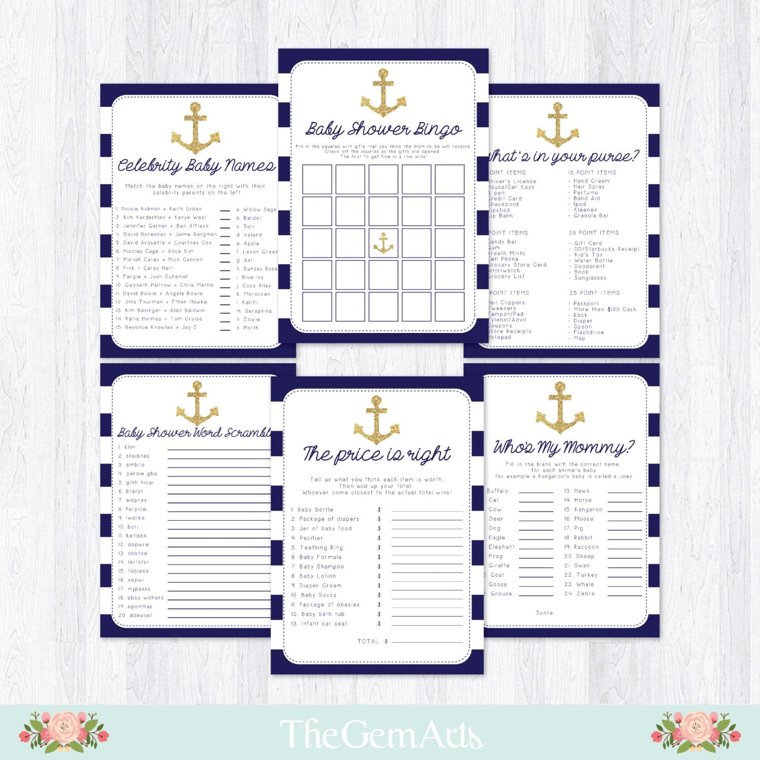 Nautical Baby Shower Games Package, Bingo Game, Whats In Your