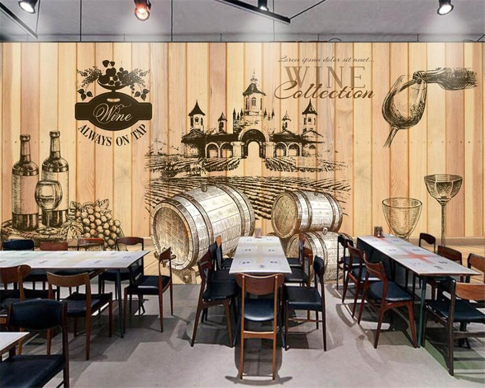 Beibehang Home Decorative Wallpaper Vintage Hand Painted Wine Cellar Wooden Background Photo Wall Mural 3d Wallp Wallpaper Decor 3d Wall Murals Mural Wallpaper