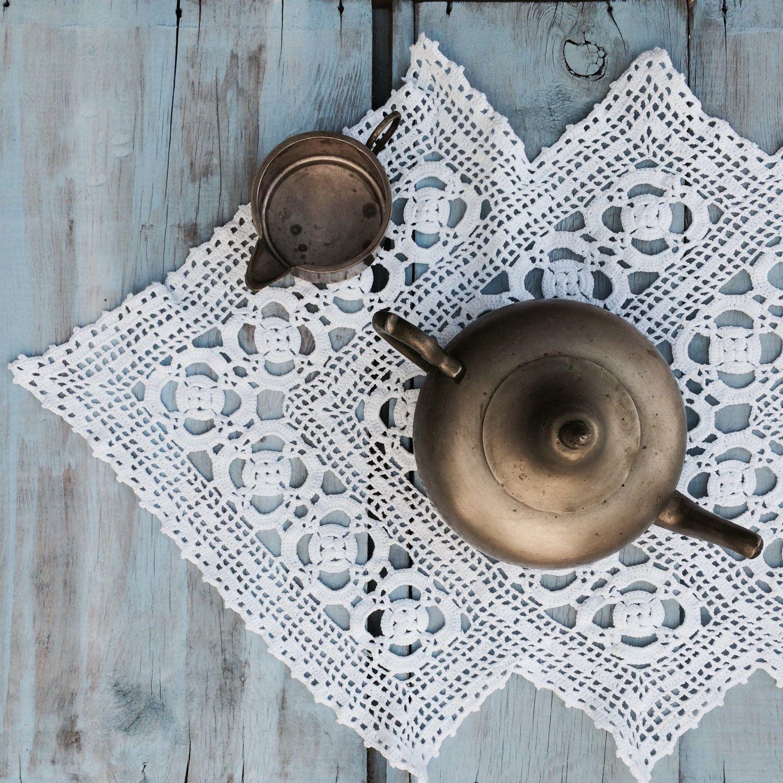 Crochet Table RunnerAsimetric/handmade Runner/lace Table Runner/white Table  Runner/cotton Table Runner/wedding Table Runner