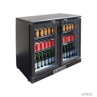 F E D Bc02pp Two Door Bar Cooler Double Sliding Doors Bar Fridges Stainless Steel Shelving