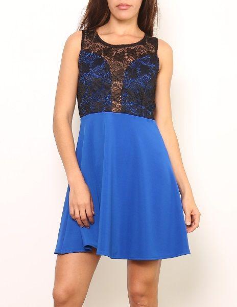 vestidos corto falda azul con encaje suen- 29.90€