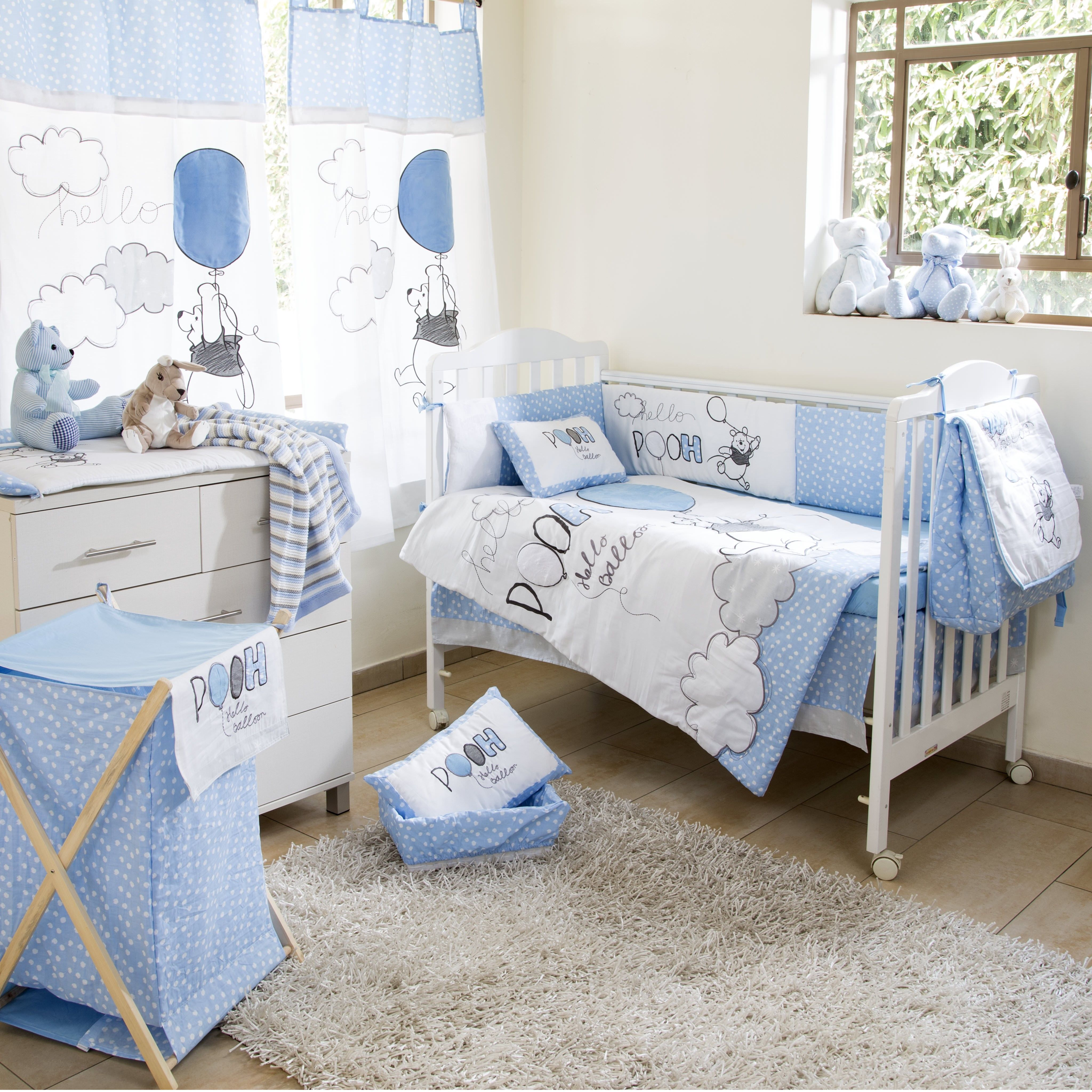 disney blue winnie the pooh play crib bedding