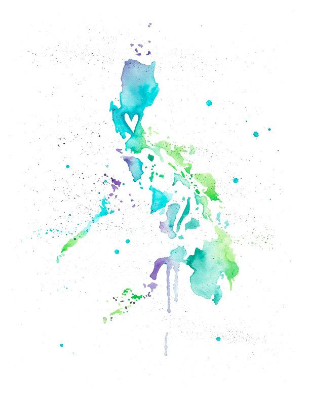 5x7 Or 8 5x11 Philippines Love Watercolor Map Print Etsy Filipino Tattoos Watercolor Map Bee Print