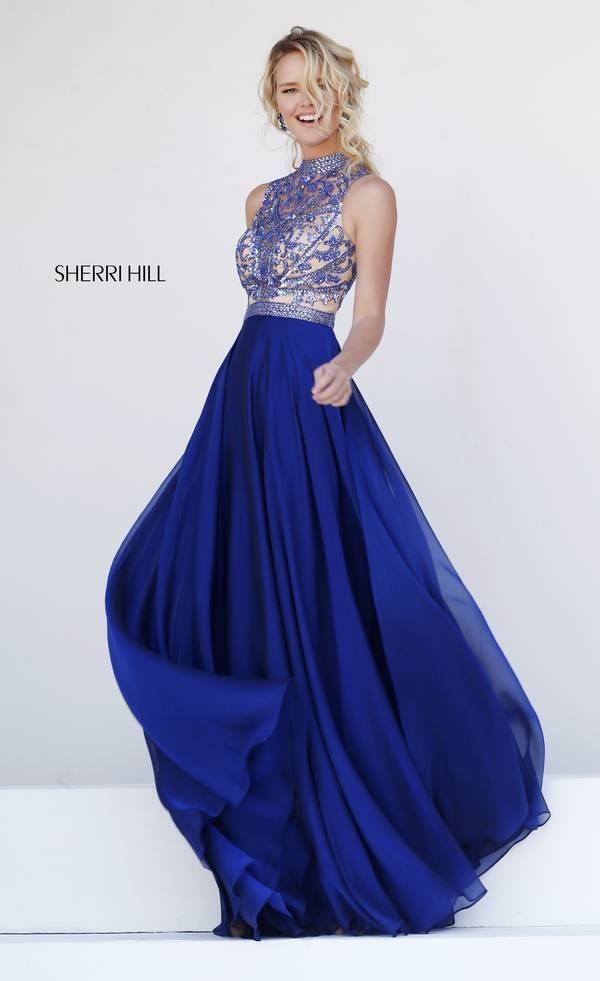 02235141e8838 Sherri Hill 1964 a long flowing chiffon a-line with detailed bodice dress  for prom or homecoming