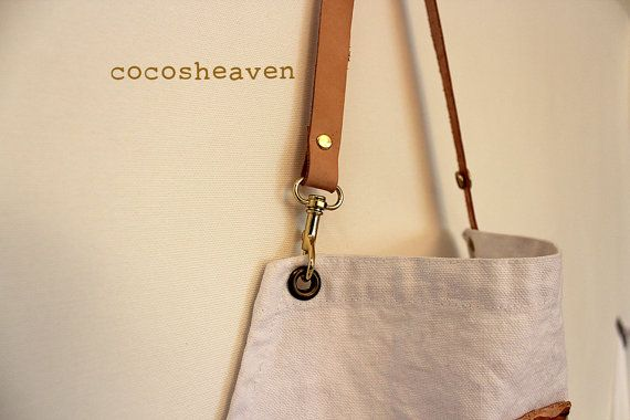 Canvas Apron  Hand dipdyed gray  with a leather by cocosheaven, $55.00