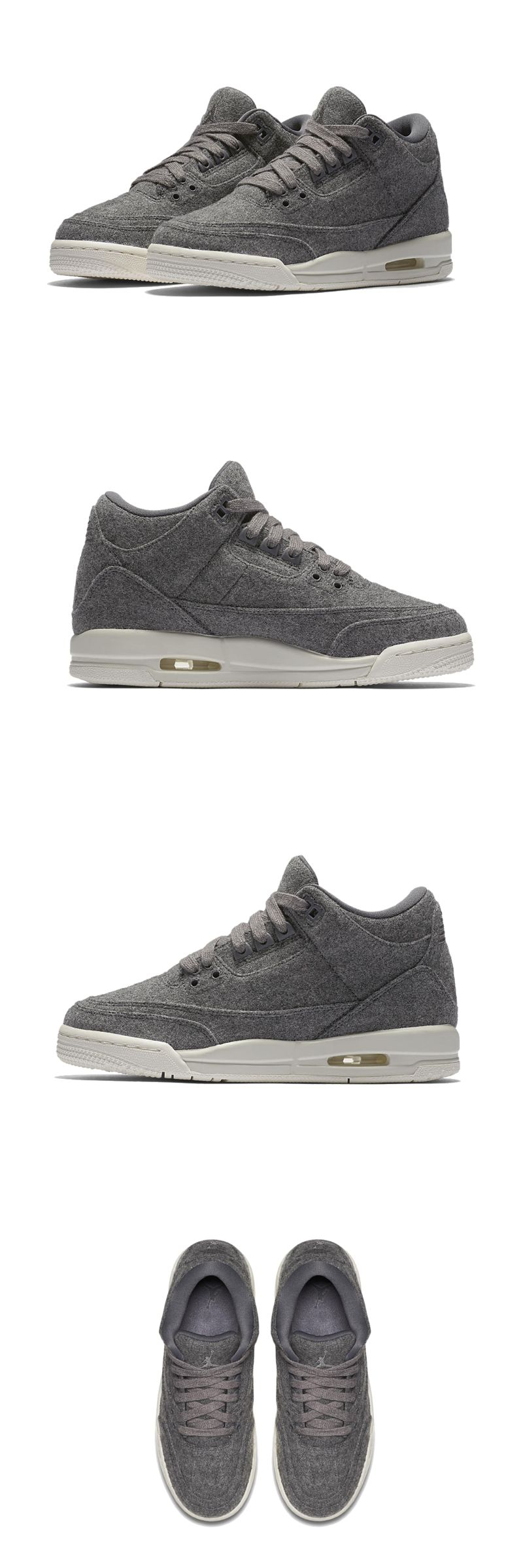056ab0ed57d0e4 Boys Shoes 57929  Boys Air Jordan 3 Retro Wool Bg 861427-004 Darck Grey