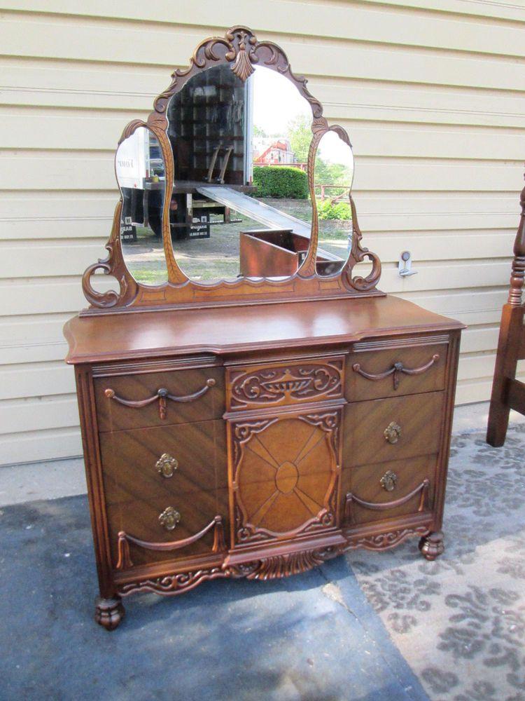 Antique Walnut Dresser Chest W Mirror Ebay