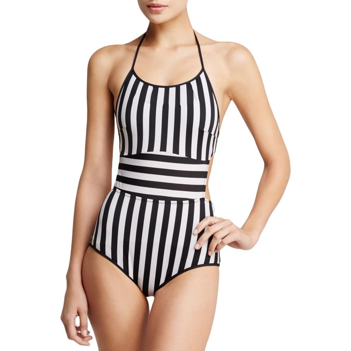 Paul Smith Womens Striped Halter One-Piece Swimsuit