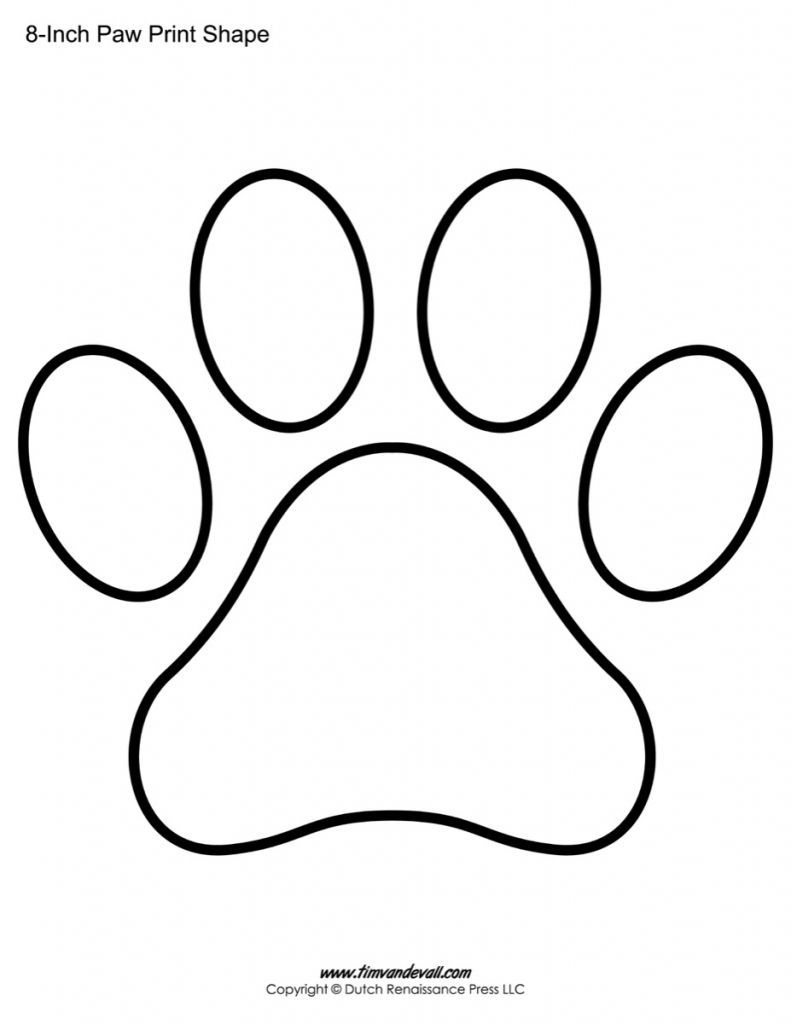 Coloring Page Template Printing Paw Print Art Paw Print Drawing Paw Stencil