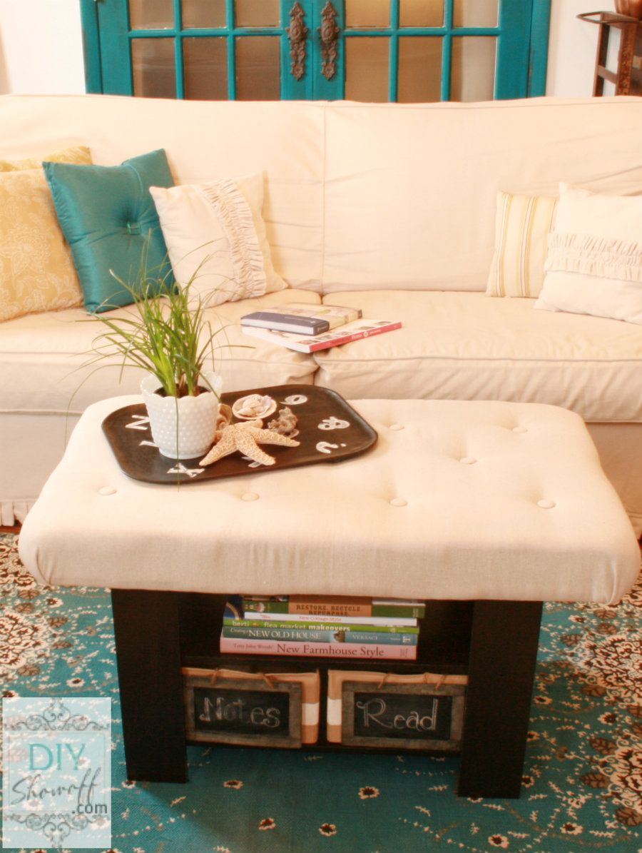 How to Make a DIY Upholstered Tufted Ottoman | Home diy ...
