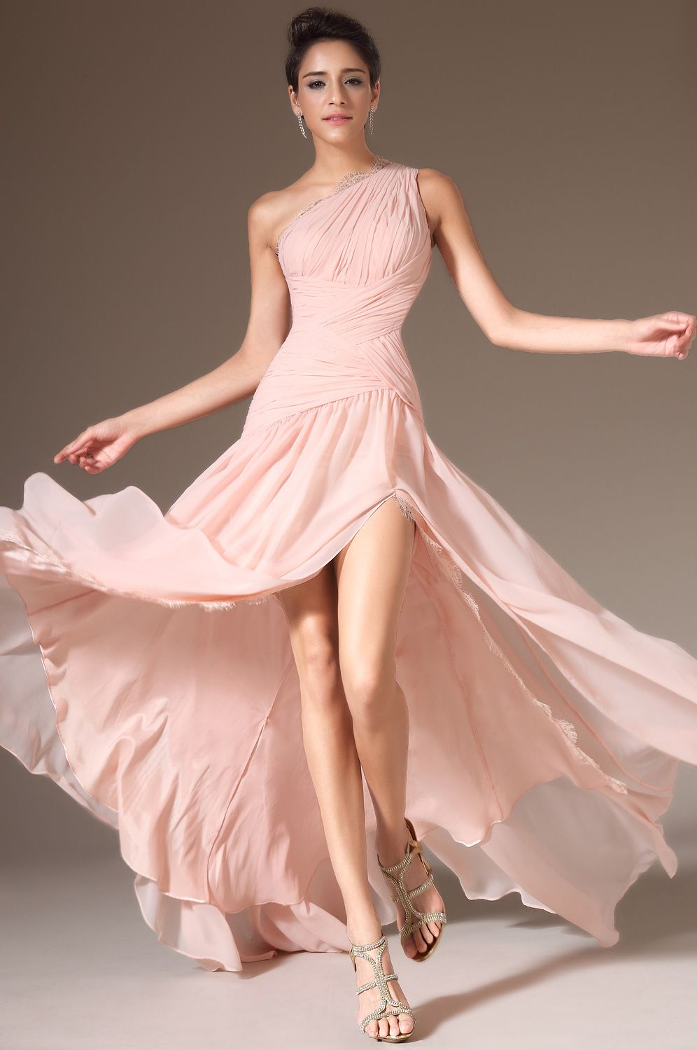 eDressit 2014 New Pink One-Shoulder High Slit Evening Prom Dress ...