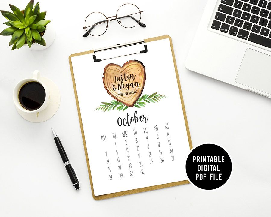 Personalized Decor Printable Desktop Calendar Wood Anniversary