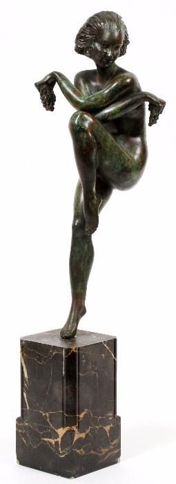 "Found on EstateSales.NET: Lot#2131, RAYMONDE GUERBE, ART DECO BRONZE & MARBLE FIGURE, C.1920, H 16 1/2""A single nude female, dancing while holding a pair of grapes.  Fitted to an art deco style marble base.  Marked ""Made in France"" at the back of the base, also marked ""58"" at the bottom of her right foot. Detroit, MI"