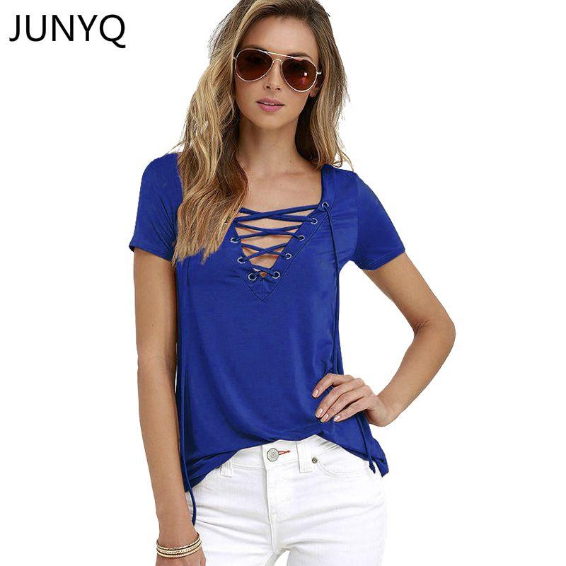 2017夏のファッション女性tシャツ半袖セクシーな深いvネック包帯シャツ女性