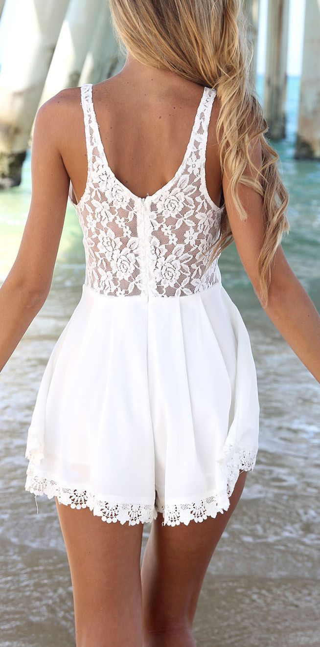 Fashion Cute White Lace Romper Dress Fashion White Lace Romper Lace Romper [ 1323 x 654 Pixel ]