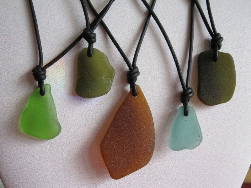 Men's Surfer Style Sea Glass Black Leather Cord Adjustable Necklace. $15.00, via Etsy.