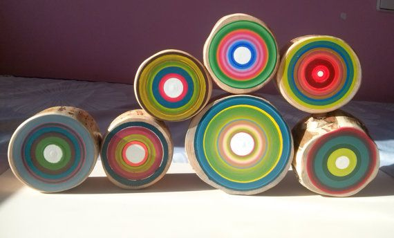 Set of 7 different sizes hand painted tree rings.   This wooden paintings will be a magnificent decoration for your home!  Each wooden circle