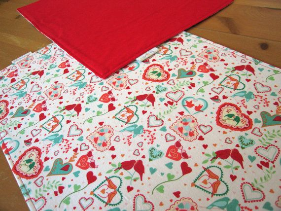 Valentine Placemats 4 with Lovebirds and by ItsHandmadebyArianne ...