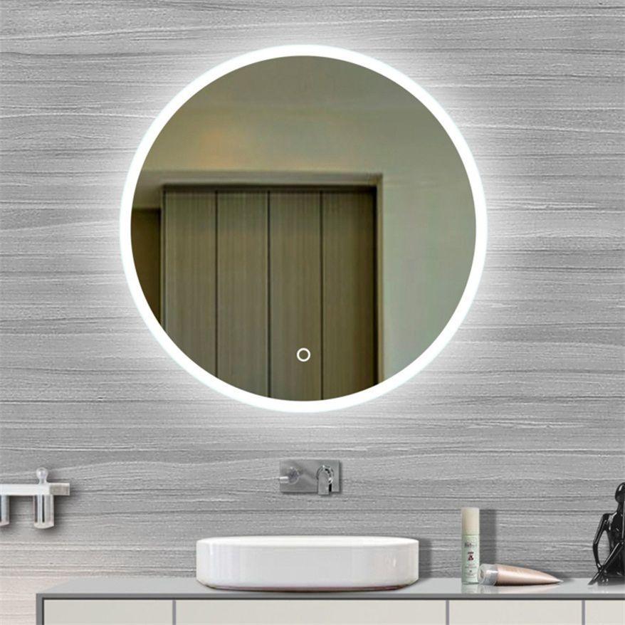Miroir de salle de bain rond argenté éclairé, encadré par LED ...