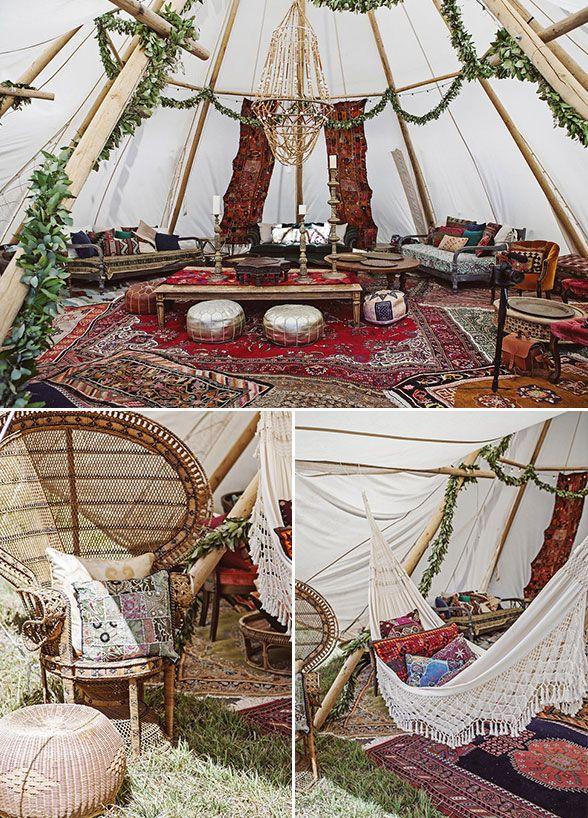 Inside the tent decor details, Outdoor Boho wedding ...